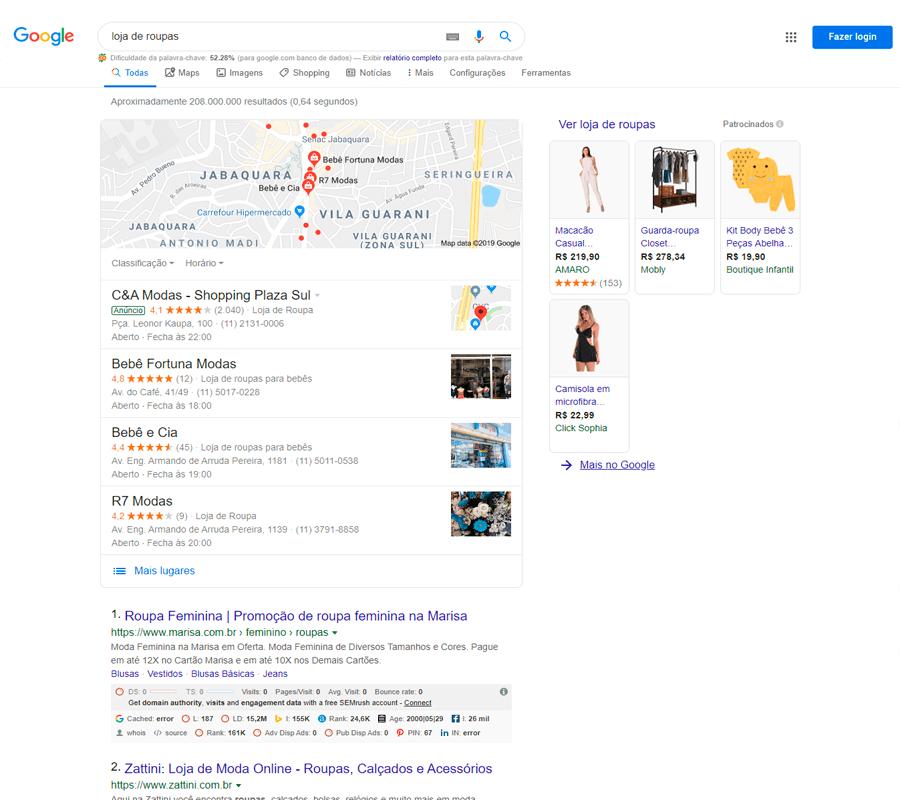 Resultados de uma Busca no Google
